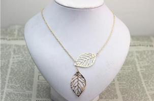 Řetízek na krk - listy stromu (Zlatý)